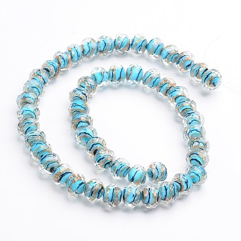 SkyBlue Handmade Gold Sand Lampwork Rondelle Beads Strands, Faceted, SkyBlue, 12x9mm, Hole: 1mm; 40pcs/strand, 15.4""