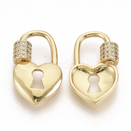 Brass Micro Pave Clear Cubic Zirconia Screw Carabiner Lock Charms ZIRC-S066-008-1