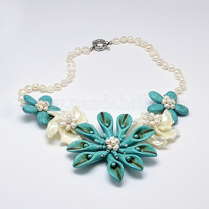 Calla lily flor madre de perla babero collares declaraciónNJEW-N0014-19C-1