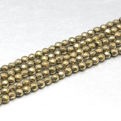 Natural Pyrite Beads StrandsG-J002-19-1