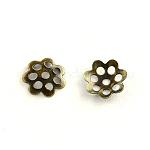 Iron Bead Caps, Flower, Multi-Petal, Antique Bronze, 6x1mm, Hole: 1mm