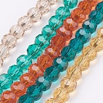 Brins de verre de verre environnemental, facette, couleur mixte, 6mm, trou: 1mm; environ 100 pcs/chapelet, 22.6