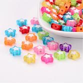 Transparent Acrylic Beads, Bead in Bead, Star, Mixed Color, 9x10x4mm, Hole: 2mm