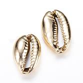 Cuentas de concha de cowrie electrochapadas, Para la fabricación de joyas artesanales de diy, dorado, 18~23x14.5x7.5mm