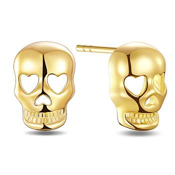 Серьги-гвоздики shegrace 925 из стерлингового серебра, для Хэллоуина, череп, золотые, 10x7.1 мм