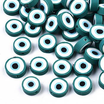 Бусины из полимерной глины , плоские круглые с сглаза, темные голубые, 10.5~12.5x3.5~4.5 мм, отверстие : 1.5 мм