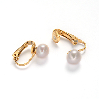 Creamy White Golden Tone 304 Stainless Steel Freshwater Pearl Clip-on Earrings, Creamy White, 16x4x16mm
