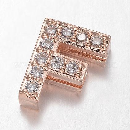 Розовое золото латунь микро проложить кубический цирконий письмо слайд прелестиZIRC-E015-02F-1