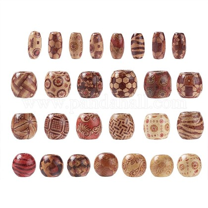 Printed Natural Wood Beads WOOD-TA0001-14-1