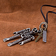 Adjustable Men's Zinc Alloy Pendant and Leather Cord Lariat NecklacesNJEW-BB15999-5