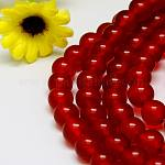 Natural Malaysia Jade Bead Strands, Round Dyed Beads, Red, 6mm, Hole: 1m; about 64pcs/strand, 15