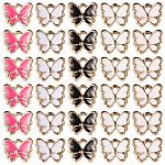 SUNNYCLUE 1 Box 30Pcs 6 Color Enamel Butterfly Pendant Charms Colorful Butterfly Charms Bracelet Pendant Charm for Necklace Bracelet Jewelry Making Supplies Craft, Mixed Color