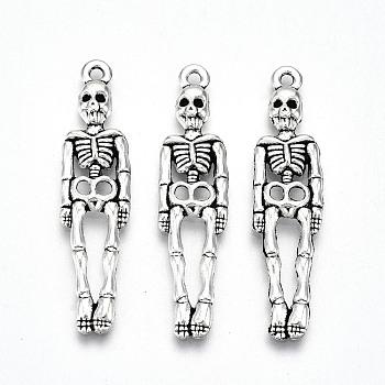Сплавочные подвески тибетского стиля, без свинца и без кадмия, скелет, античное серебро, 39x9.5x2.5 мм, отверстие : 1.5 мм, Около 360 шт / 500 г