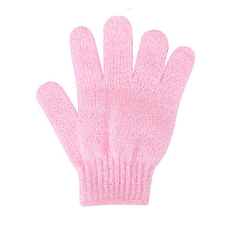 Pink Nylon Scrub Gloves, Exfoliating Gloves, for Shower, Spa and Body Scrubs, Pink, 185x150mm