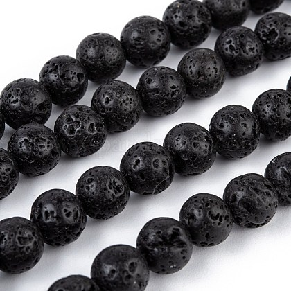 Natural Lava Stone Bead Strands G-R193-18-8mm-1