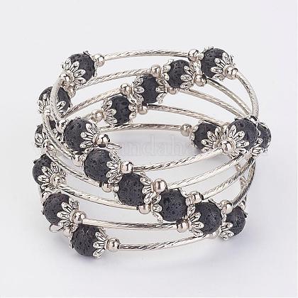Five Loops Wrap Lava Beads BraceletsBJEW-JB02920-1