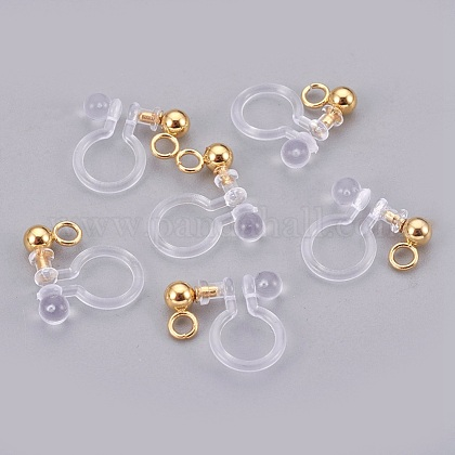 Stainless Steel Clip On Earring Findings STAS-P207-02G-1