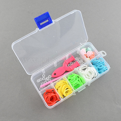 DIY Colorful Loom Bands Box with Rubber Bands and AccessoriesDIY-R009-05-1