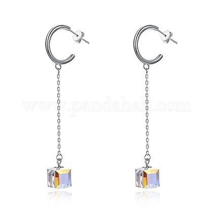 925 Sterling Silver Dangle Stud EarringsEJEW-BB30475-1