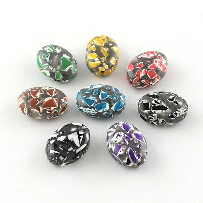 Abalorios de resina oval de piedras preciosas de imitaciónX-CRES-S283-18x25-M-1