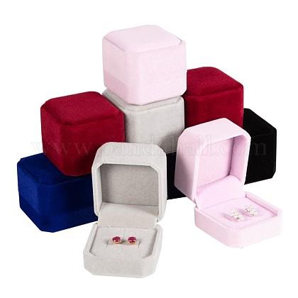 Boîtes à bagues carrées en veloursVBOX-BC0001-01-1