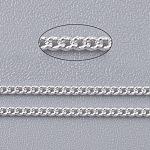 Latón retorcido cadenas, cadenas del encintado, sin soldar, con carrete, oval, sin plomo y el cadmio, color plateado, 2x1x0.35 mm; aproximamente 92 m / rollo
