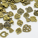 Unique Ideas for Valentines Day Mixed Tibetan Style Alloy Heart Pendants, Antique Bronze, 7~15x7~15x3~4mm, Hole: 1~2mm