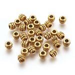 Tibetan Style Alloy Spacer Beads, Column, Antique Golden, Lead Free & Cadmium Free; 5x4mm, Hole: 2.2mm