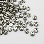 Plated Acrylic Alphabet Beads, Flat Round, Mixed, 7x4mm, Hole: 1.3mm; about 3600pcs/500g