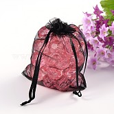 Organza Gift Bags, with Drawstring, Rectangle, Black, 12x10cm
