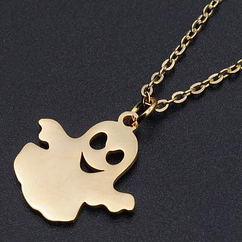 Для Хэллоуина, 201 подвесные из нержавеющей стали ожерелья, с кабельными цепями и когтями омара застежками, призрак, золотые, 15.74 дюйм (40 см), 1.5 мм