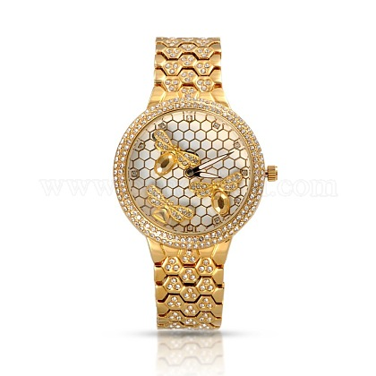 High Quality Stainless Steel Rhinestone Wrist Watch WACH-A004-09G-1