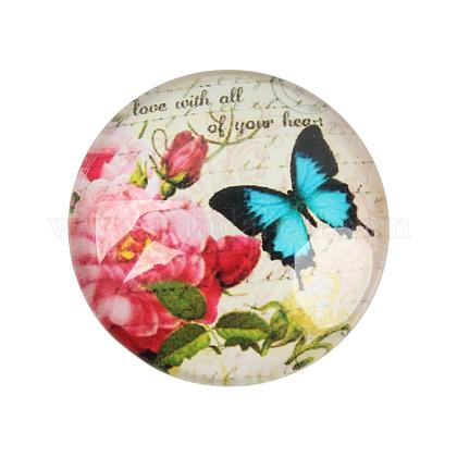 Butterfly Printed Glass CabochonsGGLA-N004-12mm-C14-1