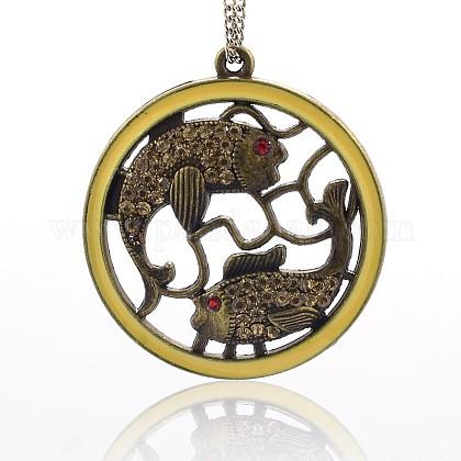 Níquel tono bronce colgantes sin esmalte de rhinestone de aleación de antigüedadesENAM-J339-03AB-NF-1