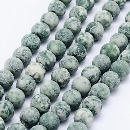Chapelets de perles en jaspe à pois verts naturelsG-F518-26-10mm-1