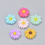 Resin Cabochons, Chrysanthemum, Mixed Color, 16~17x5mm