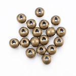 304 Stainless Steel Beads, Round, Antique Bronze, 4x3mm, Hole: 2mm