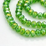 AB Color Plated Faceted Rondelle Electroplate Glass Beads Strands, LimeGreen, 6x4mm, Hole: 1mm; about 100pcs/strand, 18.1