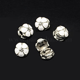 Alloy Enamel European Clasps, Flower Large Hole Beads, Antique Silver, White, 11x12mm, Hole: 3mm