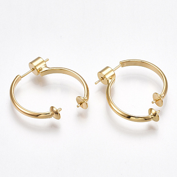 Brass Stud Earring Findings, with 925 Sterling Silver Pins, For Half Drilled Beads, Nickel Free, Real 18K Gold Plated, 22x22x5mm; 28x10.5x5; Pin: 0.8mm