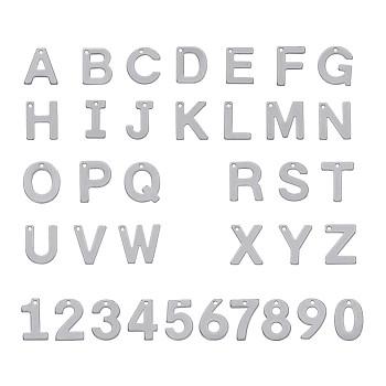304 charms in acciaio inox, lettera a ~ z e numero 0~9, colore acciaio inossidabile, 11~11.5x6~12x0.6~0.7mm, Foro: 1 mm