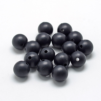 Black Food Grade Environmental Silicone Beads, Chewing Beads For Teethers, DIY Nursing Necklaces Making, Round, Black, 14~15mm, Hole: 2mm