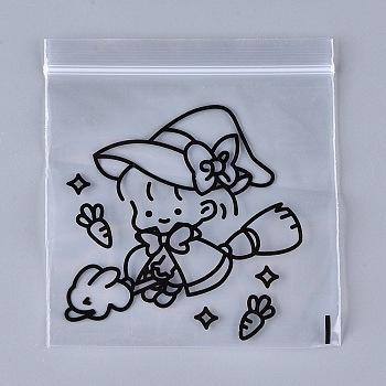 Прозрачные пластиковые пакеты на молнии, закрывающиеся сумки, топ сумки печать, с рисунком маленькой ведьмы, подходит для украшений, конфеты, монета, чёрные, 13x11.80 см