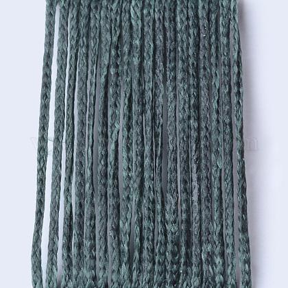 Environmental Waxed Polyester Cord, Sea Green, 1mm; 100m/roll YC-Q003-131