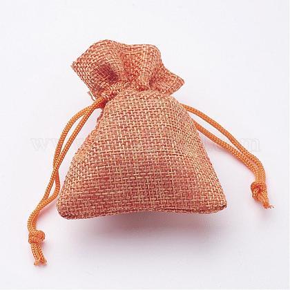 黄麻布ラッピングポーチ巾着袋X-ABAG-R005-9x7-M-1