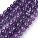 Natural Amethyst Beads Strands, Round, 8mm, Hole: 1mm; about 24pcs/strand, 7.6