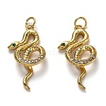 Brass Mirco Pave Clear Cubic Zirconia Pendants, Long-Lasting Plated, with Jump Rings, Snake, Real 18K Gold Plated, 27.5x14.5x4.5mm