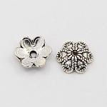 Coupelles de style tibétain , fleur, 6 pétales, argent antique, 9x3mm, Trou: 1.5mm