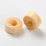 カラム天然木ビーズ, 無鉛の, antiquewhite, 6x3mm, 穴:2mm、約9000個/500g