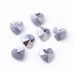 Romantic Valentines Ideas Glass Charms, Faceted Heart Pendants, Silver, 14x14x8mm, Hole: 1mm